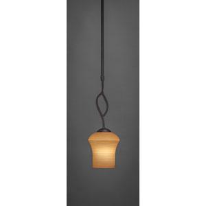 Revo Dark Granite One-Light Mini Pendant with Cayenne Linen Glass