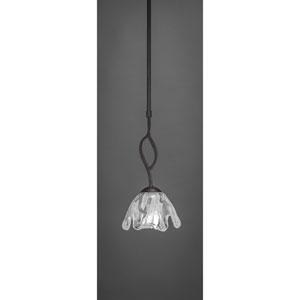 Revo Dark Granite One-Light Mini Pendant with Fluted Italian Ice Glass