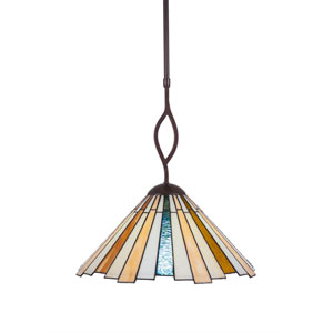 Revo Dark Granite One-Light Pendant with Sequoia Tiffany Glass