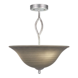 Revo Aged Silver Three-Light Semi-Flush with 16-Inch Gray Linen Glass