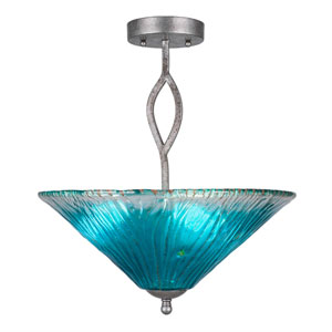 Revo Aged Silver Three-Light Semi-Flush with 16-Inch Teal Crystal Glass
