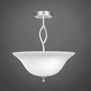 Revo Dark Granite Three-Light Semi-Flush Mount with White Linen Glass