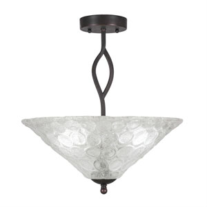 Revo Dark Granite Three-Light Semi-Flush with 16-Inch Italian Bubble Glass