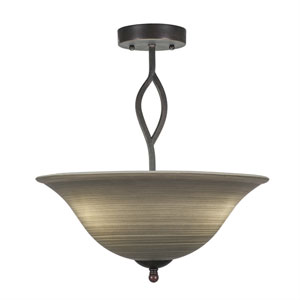 Revo Dark Granite Three-Light Semi-Flush with 16-Inch Gray Linen Glass