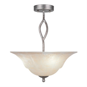 Revo Aged Silver Three-Light Semi-Flush with 16-Inch Amber Marble Glass