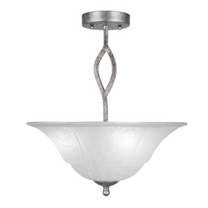 Revo Aged Silver Three-Light Semi-Flush with 16-Inch White Marble Glass