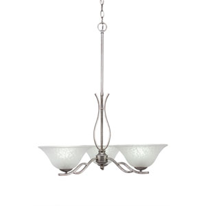 Revo Aged Silver Three-Light Chandelier with White Marble Glass