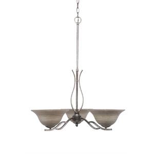 Revo Aged Silver Three-Light Chandelier with Gray Linen Glass
