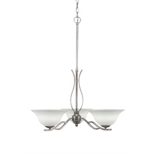 Revo Aged Silver Three-Light Chandelier with White Linen Glass