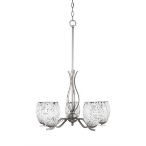 Revo Aged Silver Five-Light Chandelier with Black Fusion Glass