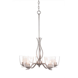 Revo Aged Silver Five-Light Chandelier with Clear Bubble Glass