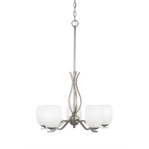 Revo Aged Silver Five-Light Chandelier with White Linen Glass