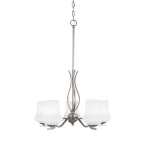 Revo Aged Silver Five-Light Chandelier with Zilo White Linen Glass