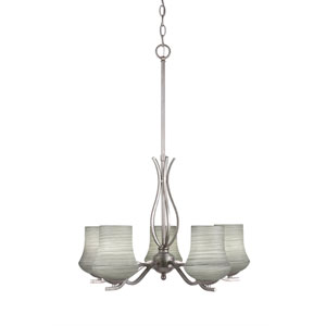 Revo Aged Silver Five-Light Chandelier with Zilo Gray Linen Glass