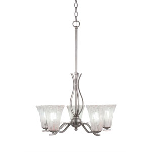 Revo Aged Silver Five-Light Chandelier with Fluted Italian Ice Crystal Glass
