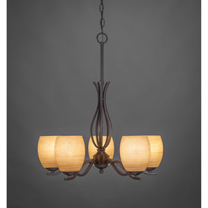 Revo Dark Granite Five-Light Chandelier with Cayenne Linen Glass