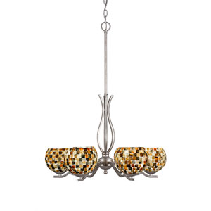 Revo Aged Silver Six-Light Chandelier with Sea Mist Seashell Glass