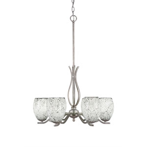 Revo Aged Silver Six-Light Chandelier with Black Fusion Glass