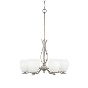 Revo Aged Silver Six-Light Chandelier with White Linen Glass