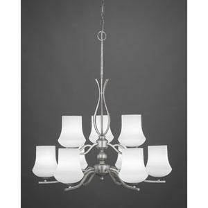 Revo Dark Granite Nine-Light Chandelier with Zilo White Linen Glass