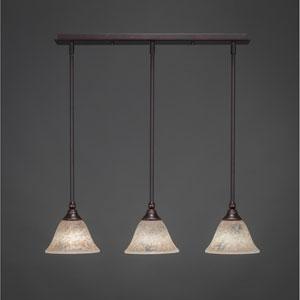 Dark Granite Three-Light Pendant with Seven-Inch Italian Marble Glass