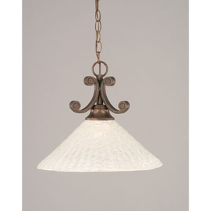 Curl Bronze One-Light Dome Pendant with 16-Inch Italian Bubble Glass