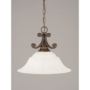Curl Bronze One-Light Dome Pendant with 16-Inch White Marble Glass Shade