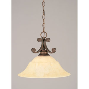 Curl Bronze Pendant with Italian Marble Glass