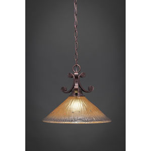 Curl Bronze One-Light Pendant with Amber Crystal Glass