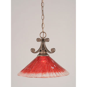 Curl Bronze One-Light Pendant with Raspberry Crystal Glass