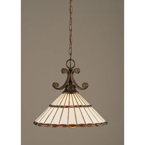 Curl Bronze One-Light Dome Pendant with 16-Inch Honey Glass And Amber Brown Tiffany Glass