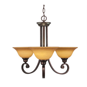 Curl Bronze Three-Light Chandelier with Cayenne Linen Glass