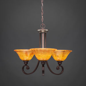 Curl Bronze Three-Light Chandelier with Firré Saturn Glass