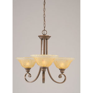 Curl Bronze Three-Light Chandelier with Amber Crystal Glass