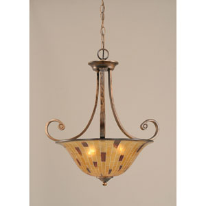 Curl Bronze Three-Light Pendant with Penshell Shade