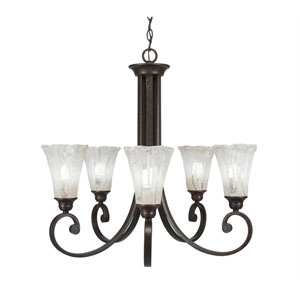 Curl Bronze Five-Light Chandelier with Italian Ice Glass