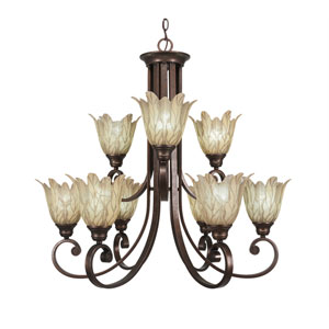 Curl Bronze Nine-Light Chandelier with Vanilla Leaf Glass