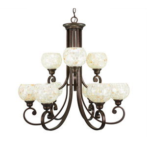 Curl Bronze Nine-Light Chandelier with Mystic Seashell Glass