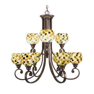 Curl Bronze Nine-Light Chandelier with Sea Mist Seashell Glass
