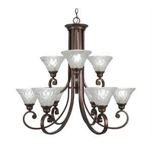 Curl Bronze Nine-Light Chandelier with Italian Bubble Glass