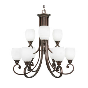 Curl Bronze Nine-Light Chandelier with White Linen Glass