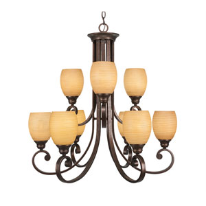 Curl Bronze Nine-Light Chandelier with Cayenne Linen Glass