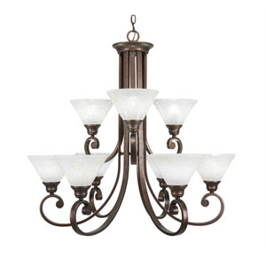 Curl Bronze Nine-Light Chandelier with Gold Ice Glass