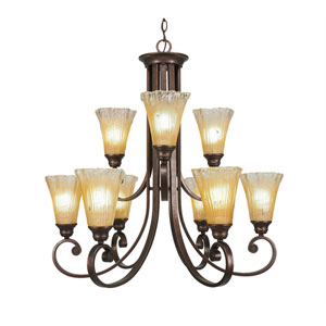 Curl Bronze Nine-Light Chandelier with Amber Crystal Glass