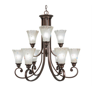 Curl Bronze Nine-Light Chandelier with Frosted Crystal Glass