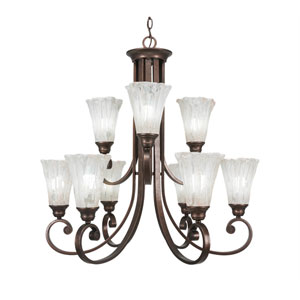 Curl Bronze Nine-Light Chandelier with Italian Ice Glass