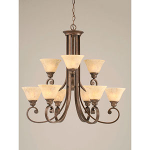 Curl Bronze Nine-Light Chandelier with 7-Inch Italian Marble Glass Shade