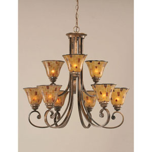 Curl Bronze Nine-Light Chandelier with 7-Inch Penshell Resin Shade