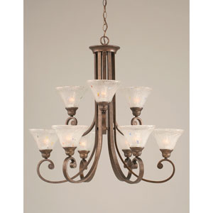 Curl Bronze Nine-Light Chandelier with 7-Inch Frosted Crystal Glass Shade