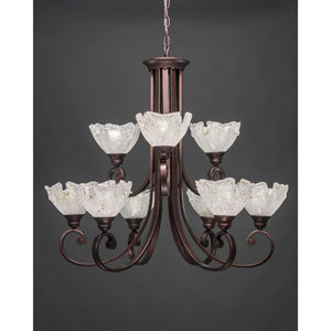 Curl Bronze Nine-Light Chandelier with 7-Inch Gold Ice Glass Shade